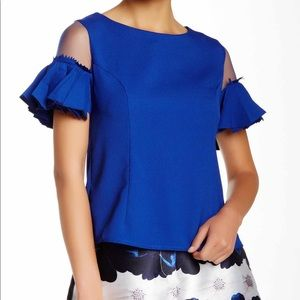 Gracia mesh pleat sleeves top